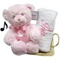 Cadeau Bébé Ourson Musical Rose et Serviette